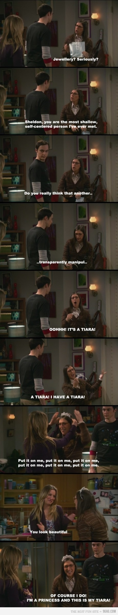 Love me some Big Bang Theory (Especially Amy!!!!!), but this is SO me in a nutshell.  I go cookoo for sparklies!  Oh, and I convinced my mom to buy me a tiara I saw in a case at the fabric store when I was like, 5.  And I wore it regularly.