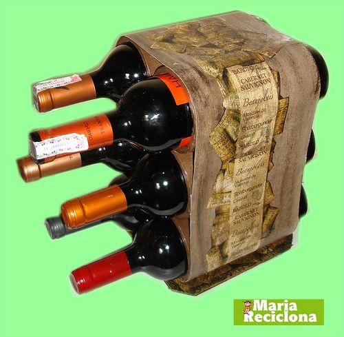 adega com tubos de papelão reciclado... DIY: Cardboard, Crafts Ideas, Porta Vinhos, Papelão Reciclado, Tubes