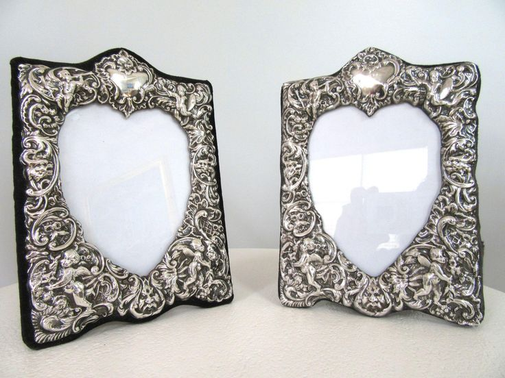 2 Vintage English Sterling Silver Picture Frames with Ornate Repousse Cherubs Easel Back