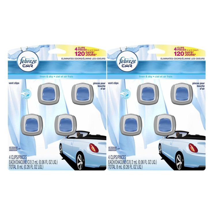 Febreze Car Vent Clips 8ml Air Freshener Linen &