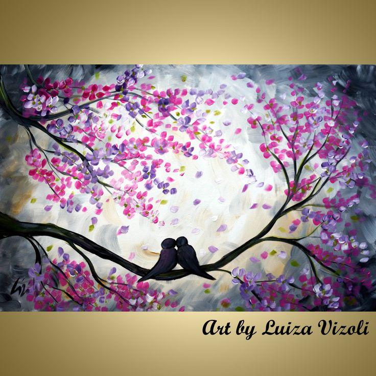 Original Painting Whimsical Love Birds Cherry Blossom Fine Art by Luiza Vizoli. $325.00, via Etsy.