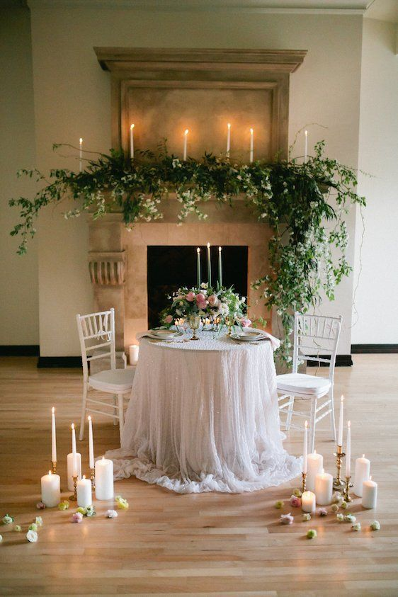 east west floral arts meredith bacon photography sweetheart table and fireplace decor