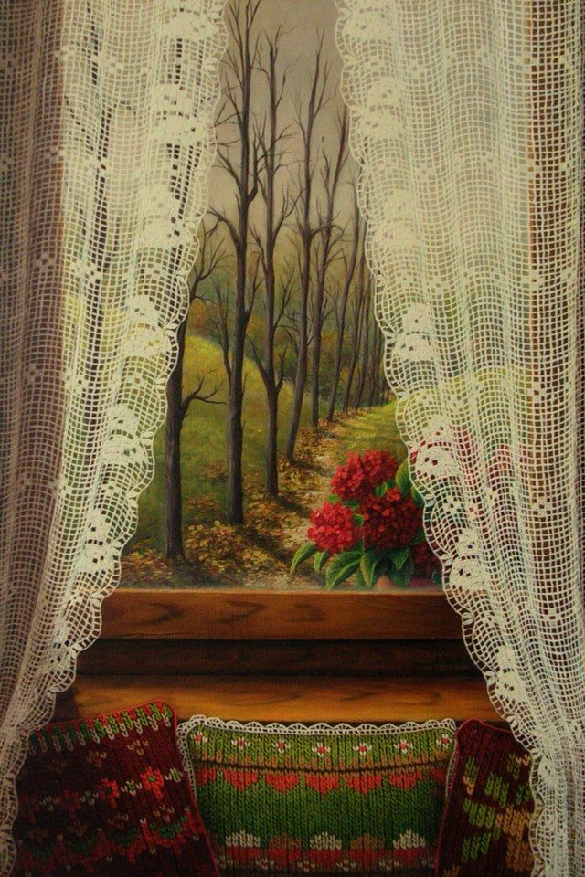 gunseli kapucu...oil painting...Windows and curtains# ...