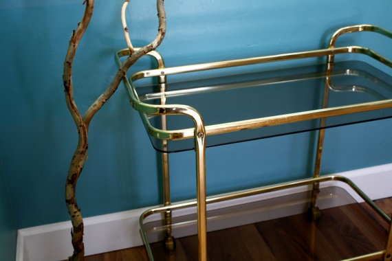 Vintage Brass Bar Cart Serving Cart Two Tiered by theTurquoiseIris, $275.00