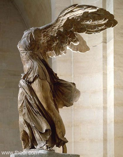 Greek Goddess of Victory, Nike by Mahealani Palepale. Wing Victory of Samothrace, also identified as the Goddess of Victory, Nike, was discovered by Charles Champoiseau in 1863 on a small island of Samothrace. This immaculate sculpture stands at 3.28m (11 feet) and is erected of Parian marble for the figurine and Gray Lartos marble for the base in which she stands on the bow of a vessel.