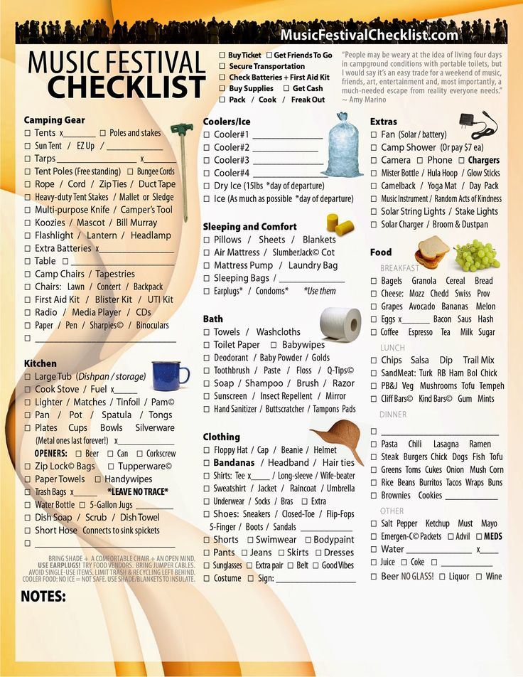 Music Festival Checklist: Music Festival Checklist - The Ultimate Survival T...