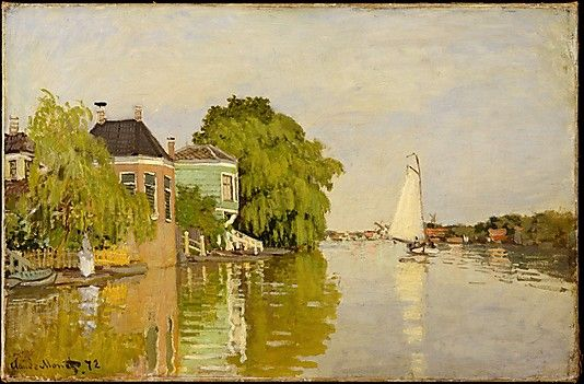 Houses on the Achterzaan  Claude Monet  (French, Paris 1840–1926 Giverny)    Date:      1871  Culture:      French  Medium:      Oil on canvas  Dimensions:      18 x 26 3/8 in. (45.7 x 67 cm)  Classification:      Paintings  Credit Line:      Robert Lehman Collection, 1975  Accession Number:      1975.1.196    This artwork is currently on display in Gallery 957