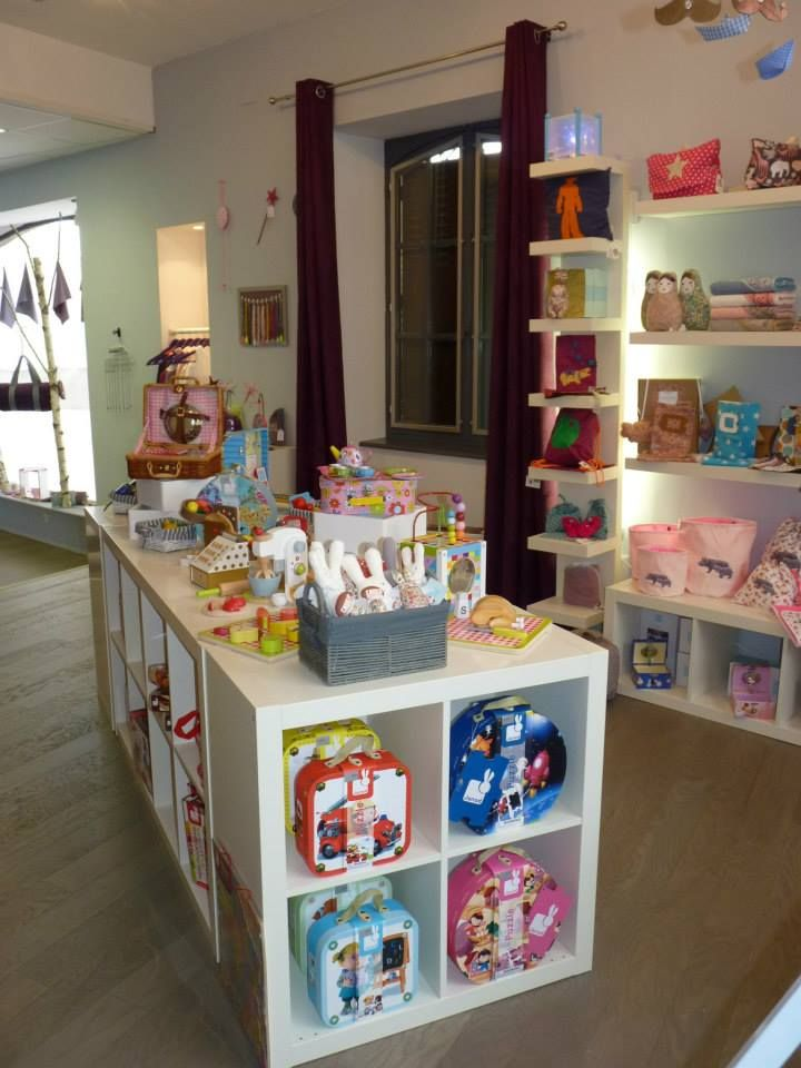 Shop display Mao boutique in Saint-Yrieix-la-Perche, France. Ange Lapin angel bunny rabbit toy for babies by Trousselier.