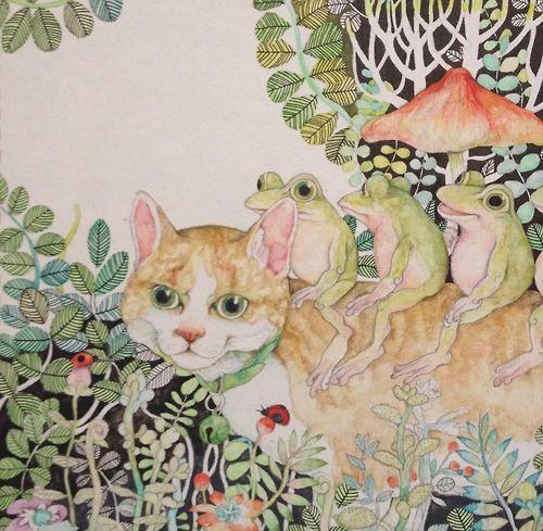 6年ほど前に描いたボリスとカエル。この個展の時に妊娠初期でつわりとの闘いだった!で、その後から2歳過ぎまで活動休止したのですよ。ちょっと前なのにすごく前。 https://www.facebook.com/burnetmoth ヒグチユウコ Yuko higuchi
