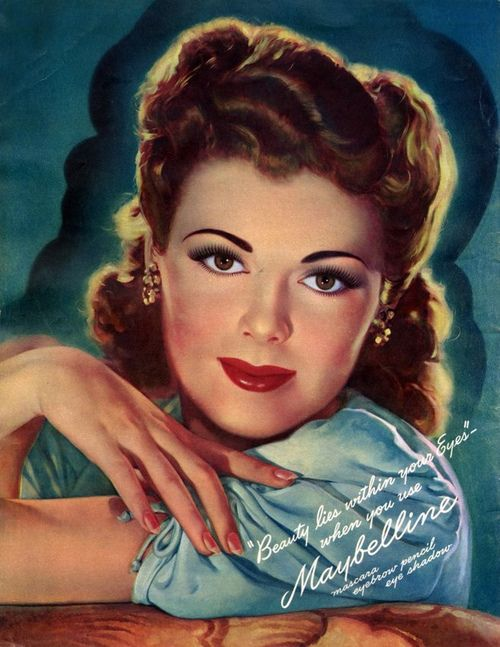 A beautiful 1943 Maybelline cosmetics ad. #vintage #makeup #1940s