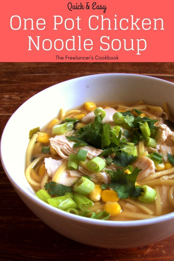 This super easy chicken noodle soup is ready in under 15 minutes - a perfect quick, healthy lunch or midweek dinner. Chicken, noodles, sweetcorn and spring onions cooked in miso soup, all in one pot. Dairy free. Perfect for freelancers and people working from home - whether you're cooking for one, for two, for kids or for the whole family.