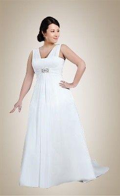 Hot Plus Size Sweep Train Chiffon Wedding Dress