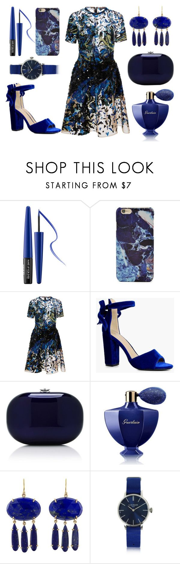"""""""что-то синее"""" by lindaedwardss ❤ liked on Polyvore featuring MAKE UP FOR EVER, Forever 21, Elie Saab, Boohoo, Jeffrey Levinson, Guerlain, Irene Neuwirth and Locman"""