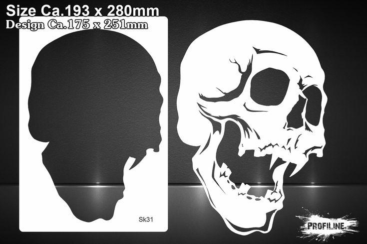 Airbrush Schablone Totenkopf - Skull Stencil | SK-Brush - Fachgeschäft und Custompaint Studio für Airbrush & Pinstriping