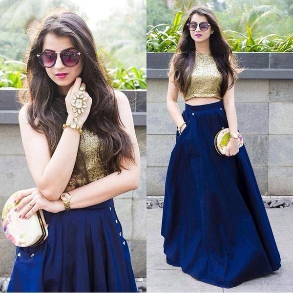 Crop Top And Blue Silk Dress Lehenga Choli ,Indian Dresses - 1