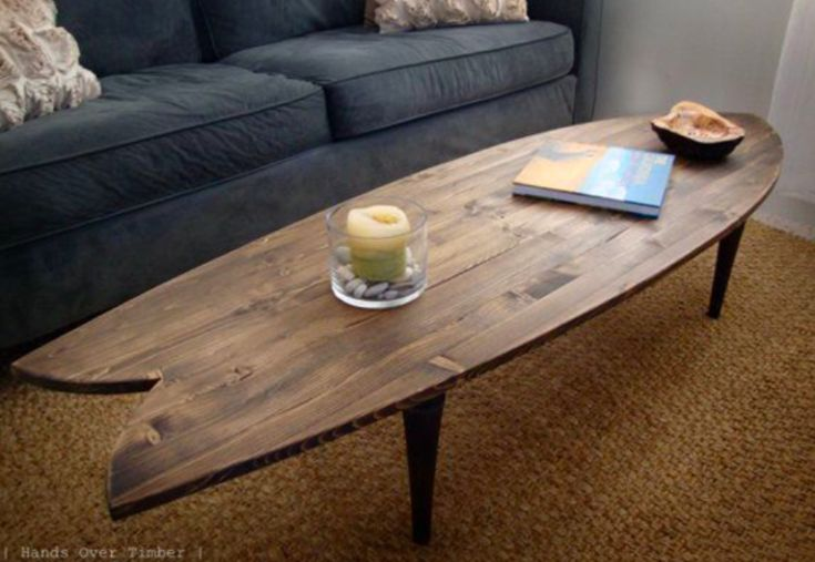 Surfboard Coffee Table for the waiting room. Love this Handcrafted Wood Surf Art. Surfboard Coffee Table, Wooden Surfboard, Diy Coffee Table, Diy Table, Fish Surfboard, Retro Furniture, Unique Furniture, Table Furniture, Inexpensive Furniture