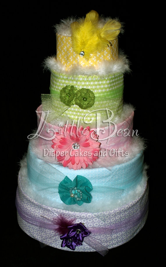 Five Tier Diaper Cake for Baby Girl by LittleBeanDiaperCake, $190.00