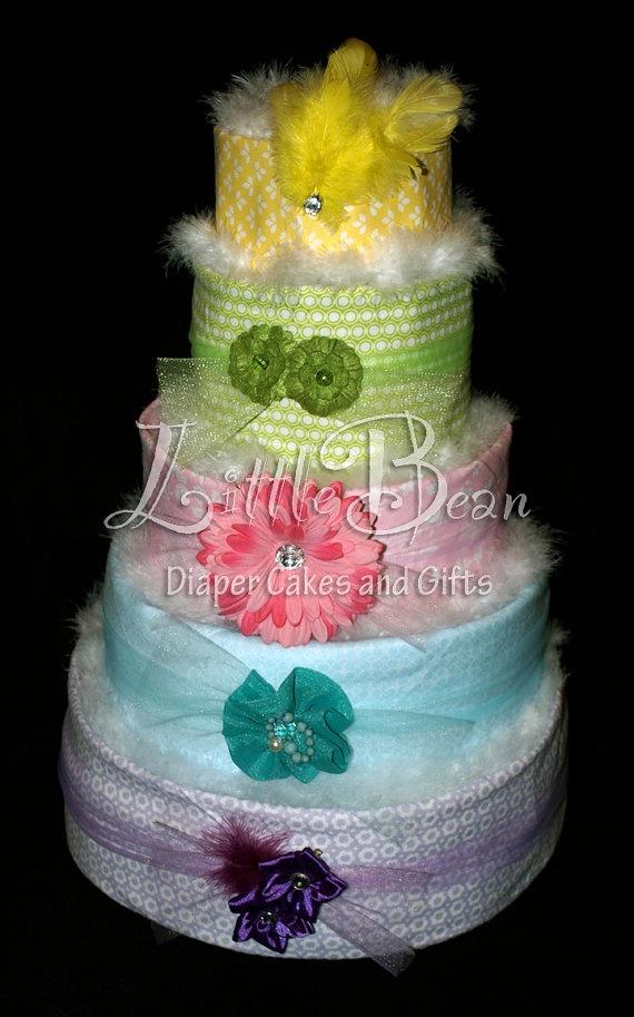 Five Tier Diaper Cake for Baby Girl by LittleBeanDiaperCake, $190.00