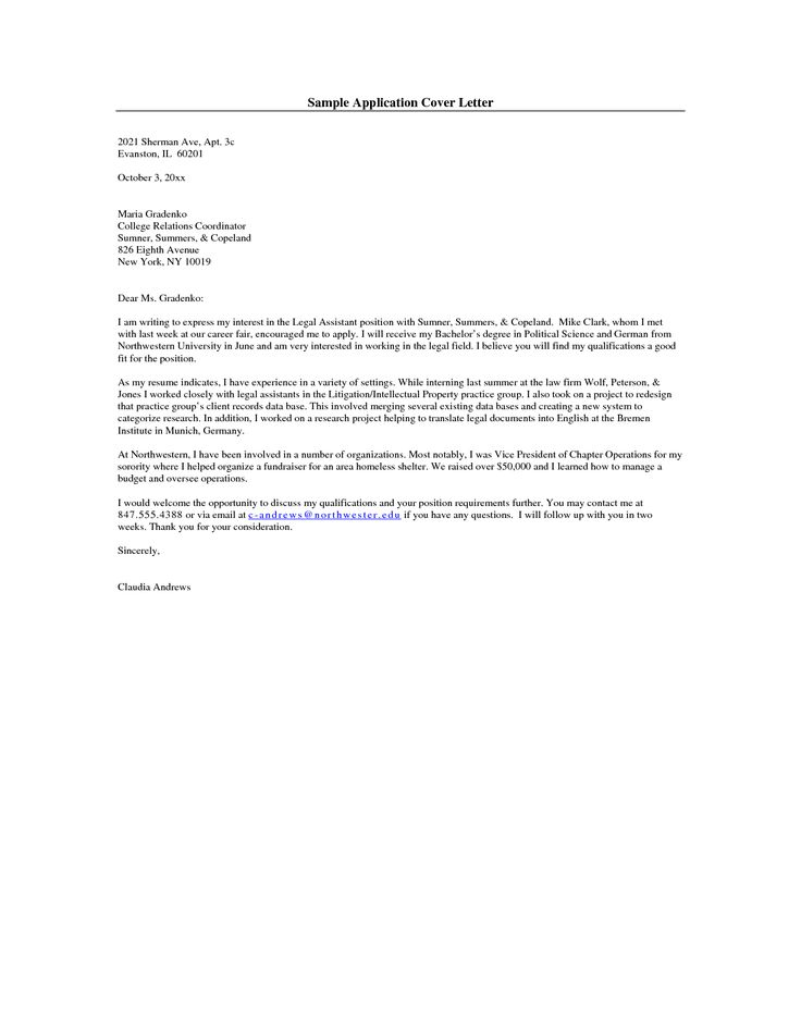 The 25+ best Free cover letter examples ideas on Pinterest Cover - Legal Secretary Cover Letter