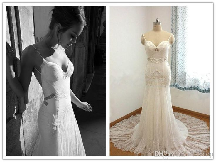 Inbal Dror Real Image Lace Appliques Beaded Pleats Straps Sweep Train  Backless Mermaid/Trumpet Wedding Dresses