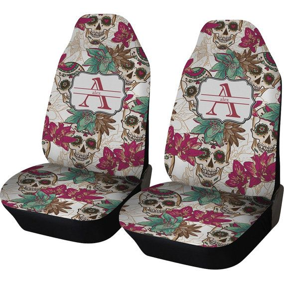 Sugar Skulls & Flowers Custom Car Seat Covers Set of by RNKShops