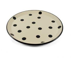 Taca emaliowana okrągła kremowa w czarne kropki 28cm