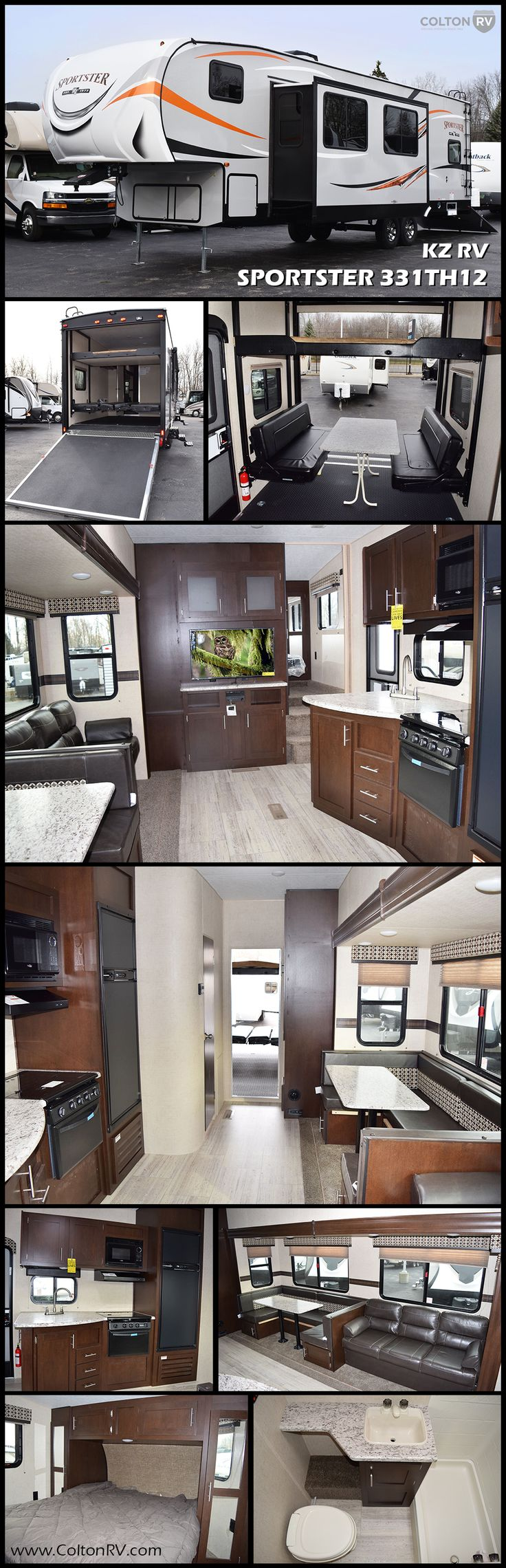 "This SPORTSTER 331TH12 Fifth Wheel Toy Hauler by KZ RV features a single slide out in the main living area, a front bedroom, and a private cargo area with a side man door for easy access. The 88"" x 91"" ramp door makes for easy loading and unloading your off road toys.  There is a drop down power bed with a Sit & Sleep below in the cargo area if you need more sleeping space."