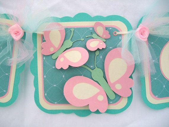 Bannière de douche de bébé papillon, c'est une bannière de la fille, la rose et la Sarcelle
