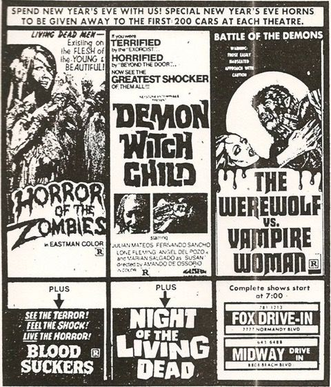 Fox Drive-In theater in Jacksonville, FL lineup in the late 1970s.