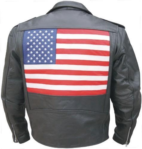 Price $125.00  http://www.srethng.com/al2018-allstate-leather-men-motorcycle-jacket.php Men's Basic Motorcycle Jacket with USA Flag on the back  Traditional biker jacket with the American Flag on back.  Show your pride and ride displaying the USA Flag.       Mens Motorcycle Jacket Features:        Traditional Cowhide Motorcycle Jacket Providing Warmth and Protection      · Heavy Split Cowhide Leather