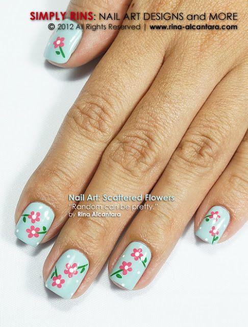 Scattered flower nail art