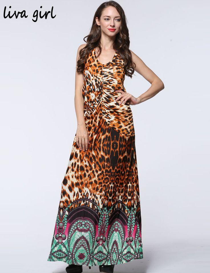 Plus Size 7XL 6XL 5XL 4XL 3XL Summer Maxi Dresses Vestidos Femininos Sleeveless Print Leopard Halter Dark V neck Sexy Long Dress