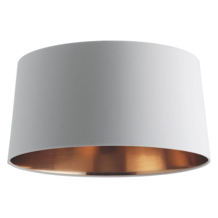 £55 GRANDE White/copper medium tapered lampshade D38 x H19cm