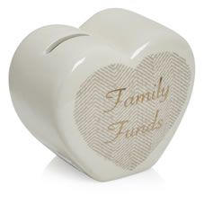 Save a little extra for rainy days with our gorgeous 'family funds' heart shaped money box. It's part of our New Naturals Home range, an earthy, natural and relaxed trend with accents of luxury.