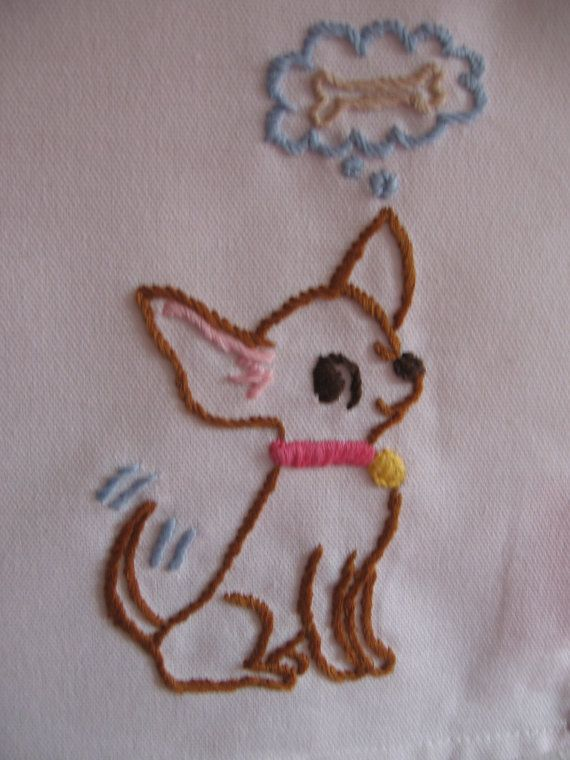 Made to OrderHand Embroidered Chihuahua Tea by jenEembroidery, $29.00