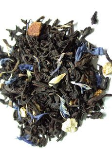 Lady Grey Tea:  A blend created by Twinings, Lady Grey tea has a base of Earl Grey tea with added lemon and Seville orange oils.  The blue cornflower petals in this particular blend have a beautiful visual appeal and also impart a subtle clove flavor.