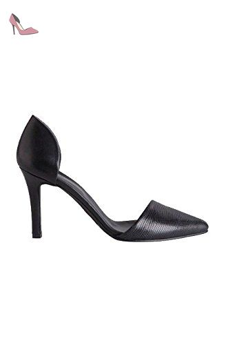 Pieces Damen PSLIKA Leder LIZZARD PUMP BLACK Schwarz 37 Pieces luSJOY2k