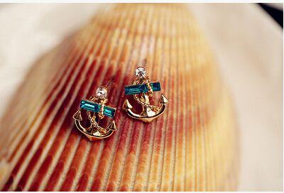 mix $5 livraison gratuite vintage rétro bleu boucles d'oreilles clous rinestone navire d'ancrage dans Clous d'oreilles de Bijoux sur AliExpress.com | Alibaba Group