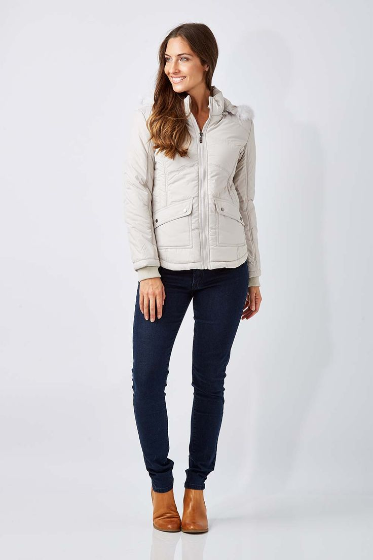 NEST PICKS - Short Puffer Jacket (Ice): From Nest Picks the Short Puffer Jacket is quilted with a detachable faux fur trim hood, designed to keep you toasty on the inside and protected from the winter chill. With shaping through the waist and a full length zip, this jacket gives a great weekend look when teamed over jeans and boots (If you prefer a less fitted look we would suggest going up a size). Love, Rowena and the birdsnest girls x