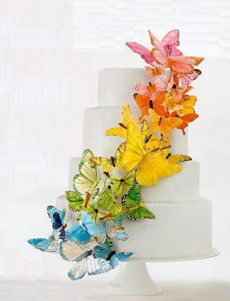 rainbow wedding butterfly cake #rainbowwedding #weddingcake