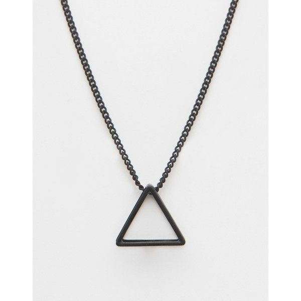ASOS Necklace With Triangle Pendant ($13) ❤ liked on Polyvore featuring men's fashion, men's jewelry, men's necklaces, mattblack, mens chain necklace, mens triangle necklace, mens stainless steel necklace, mens curb chain necklace and mens pendant necklaces