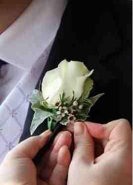 Waxflower rose buttonhole