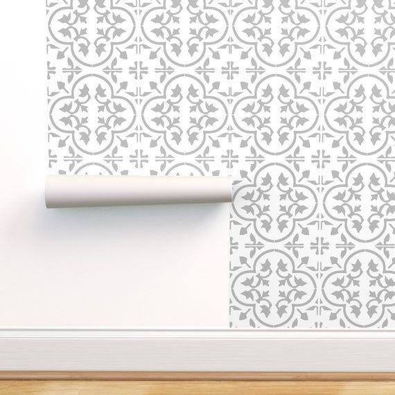 Moroccan Wallpaper Gray Light Moroccan Cement Tile By Mlags Etsy Moroccan Wallpaper Tile Wallpaper Encaustic Tile