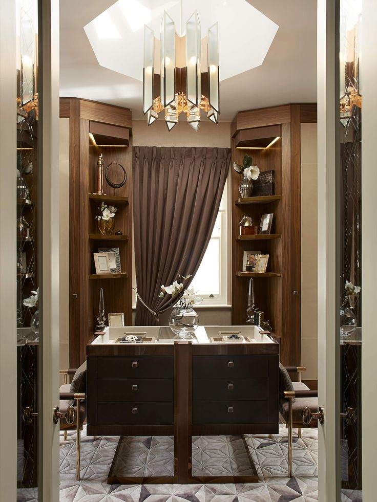 INTERIOR ID   His Dressing Room. Dark Stained Walnut With Leather And Metal  Features Part 98
