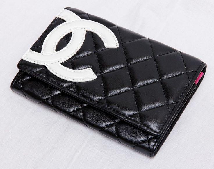 Кошелек Chanel черный прямоугольный с белым логотипом