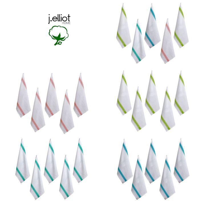Set of 5 Glass Cloth Tea Towels 50 x 70 cm by J.elliot