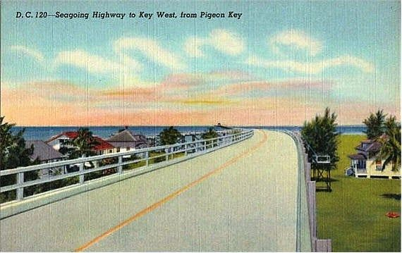 Vintage Florida Postcard Overseas Highway To Key West From Pigeon Key The Vintageplum Shop On Etsy Vintag Vintage Florida Florida Postcard Printing