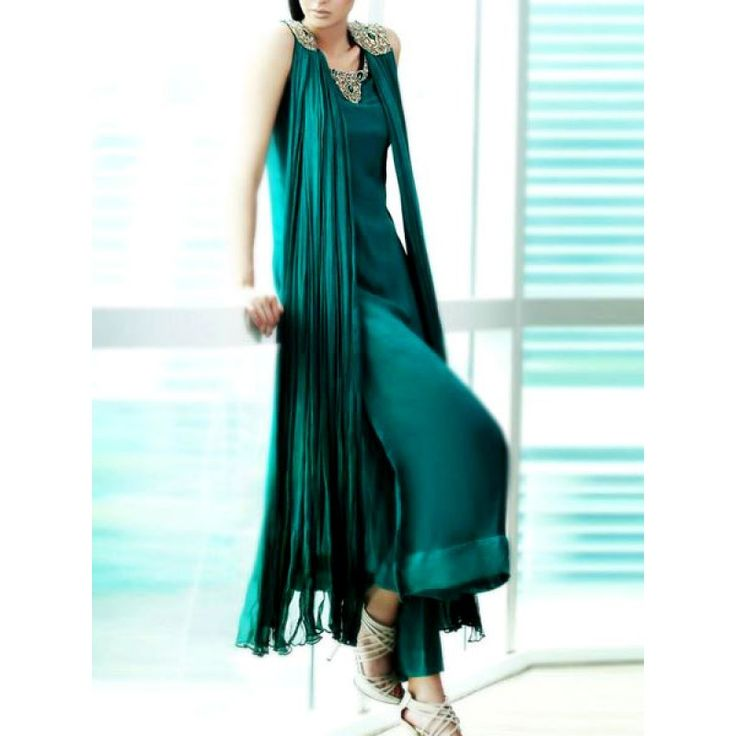 Turquoise Green Embroidered A-line Silk Party Special Dress Contact: (702) 751-3523 Email: info@pakrobe.com Skype: PakRobe