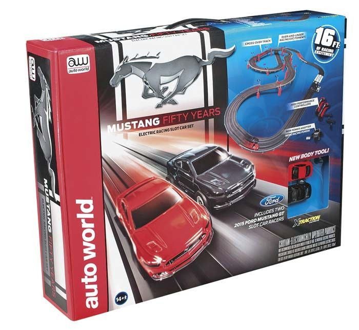 This is the 1/64 Scale Auto World 2015 Mustang GT Slot Car Racing Set from Round 2. Suitable for Ages 14 & Older. FEATURES 50th Anniversary set 16 feet of track 2 slot car racers (red and black) X-Tra
