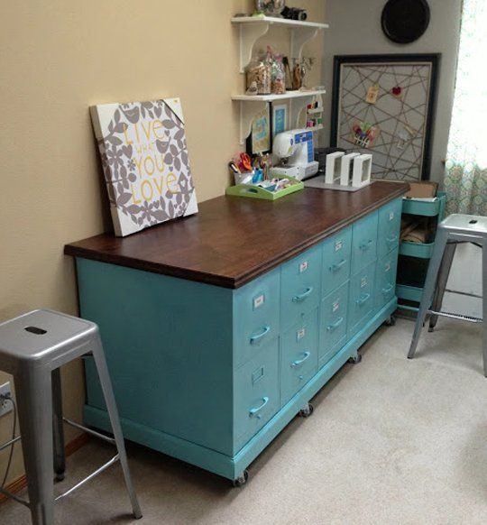 Rolling File Cabinet Set from Little Gray Table: This project is great because it utilizes a few of my favorite things: colorful spray paint and caster wheels. With the addition of a wood work surface, it now serves multiple purposes.